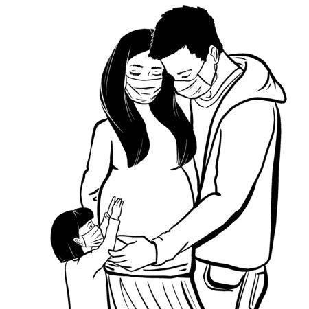 Novel coronavirus (2019-nCoV), loving coupe, pregnant woman, little daughter in white medical face mask. Concept of coronavirus quarantine illustration.