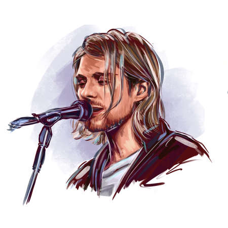 Kaliningrad, Russia - January 24, 2020 : Kurt Donald Cobain (February 20, 1967 April 5, 1994) an American singer, songwriter, and musician. Vocalist of the rock band Nirvana Editorial