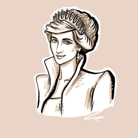 Kaliningrad, Russia - February 02 2020; Princess Wales, Lady Diana portrait sketch illustration on white background
