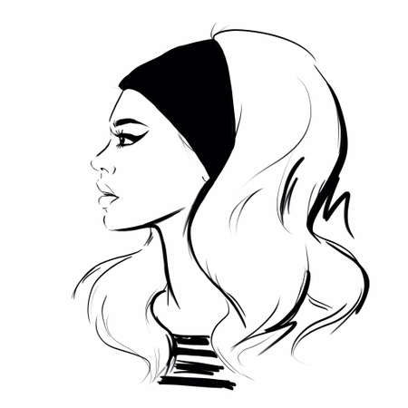 Sketch illustration of a blond woman in a retro 60s style