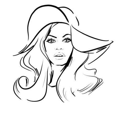 Sketch illustration of a blond woman in hat, retro 60s style