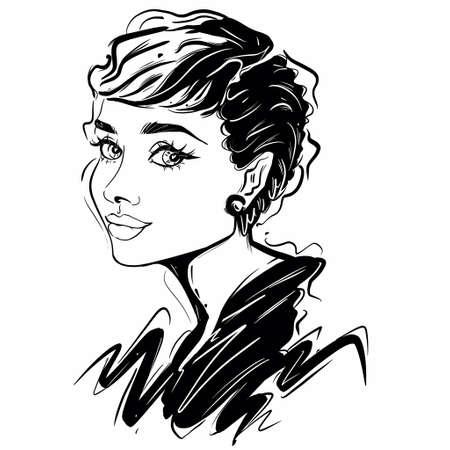 Kaliningrad, Russia 8 October 2020, Audrey Hepburn Caricature Illustration