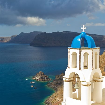 aegean sea: Oia, Santorini, Greece Stock Photo