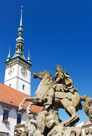olomouc: Caesar Fountain in Front of Town Hall Clock Tower in Olomouc, Czech Republic Stock Photo
