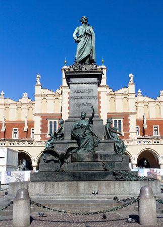 mickiewicz: Adam Mickiewicz Monument in Old Town of Krakow, Poland
