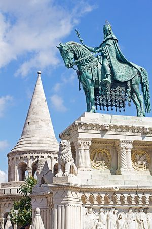 Statue of Saint Stephen I in Front of Fishermans Bastion at Buda Castle in Budapest, Hungary  photo