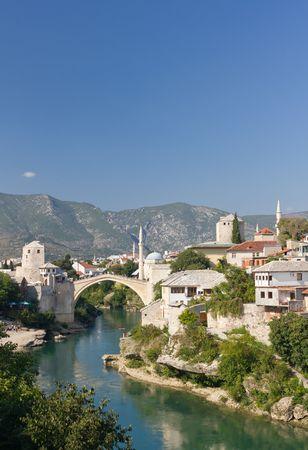 mostar: Famous Old Bridge in Mostar, Bosnia and Herzegovina Stock Photo