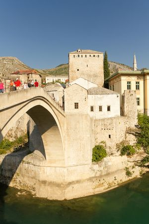 Tourists Strolling Across the Historic Old Bridge On September 24, 2010 in Mostar, Bosnia and Herzegovina