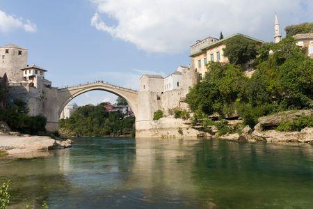 mostar: The Famous Old Bridge on the Neretva River in Mostar, Bosnia and Herzegovina Stock Photo