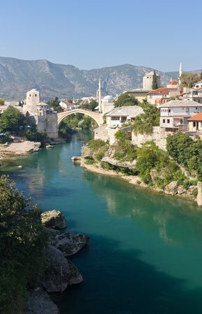 Famous Old Bridge on the Neretva River in Mostar, Bosnia and Herzegovina photo