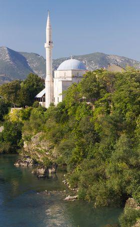 Koski Mehmed Pasa Mosque On the Neretva River in Mostar, Bosnia and Herzegovina