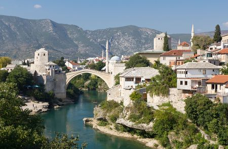 Tourists Walking Across the Historic Old Bridge On September 24, 2010 in Mostar, Bosnia and Herzegovina