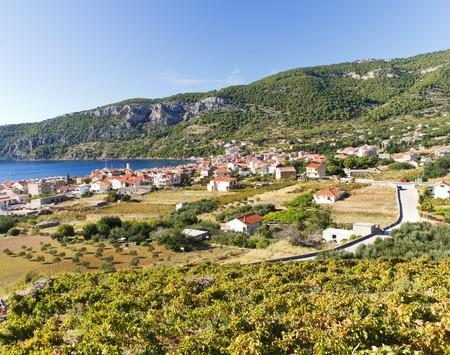 Town of Komiza in Vis Island, Croatia in the Adriatic Sea