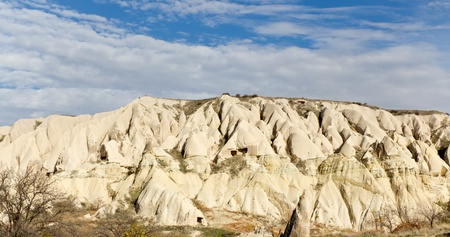 Panoramic View of Unique Rock Formations in Valley of Cappadocia in the Anatolian Region of Central Turkey photo