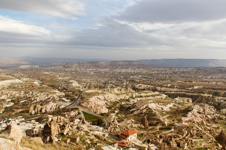 View of Cappadocia Valleys From the Highest Point of Uchisar in Anatolia, Turkey photo