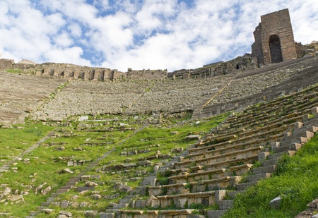 Theater in the Ruins of the Ancient Greek City of Pergamon in Bergama, Turkey Stock Photo - 8452296