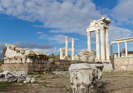 crumbling: Temple of Trajan in the Ruins of the Ancient Greek City of Pergamon in Present-day Bergama, Turkey Stock Photo