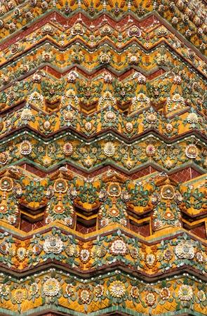 southeast asia: Colorful Tiled Thai Stupa in Bangkok, Thailand, Southeast Asia