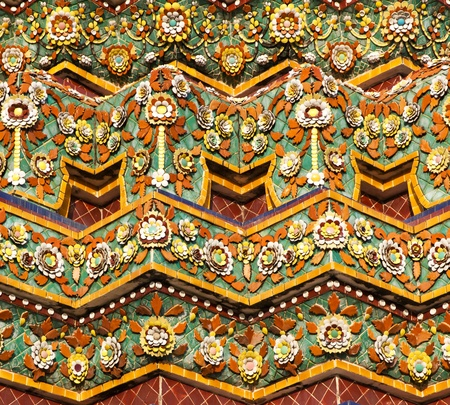 Stupa Decorated With Ceramic Tiles and Flower Patterns at Wat Pho in Bangkok, Thailand Stock Photo