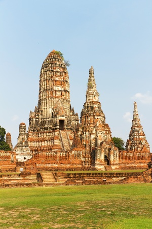 Temple Ruins of Wat Chai Wattanaram at the Unesco World Heritage Site of Ayutthaya in Thailand photo