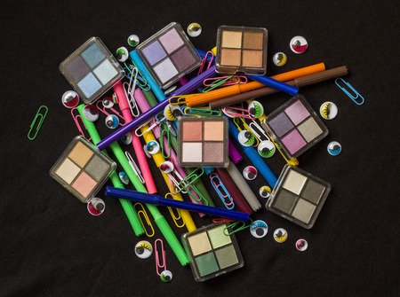 Colourful Eyes-Make up Products-Paper Clips and Pens photo