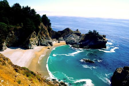 julia pfeiffer burns: Big Sur is a sparsely populated region of the central California, United States coast where the Santa Lucia Mountains rise abruptly from the Pacific Ocean. The terrain offers stunning views, making Big Sur a popular tourist destination.