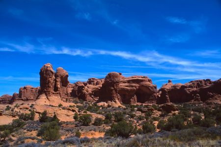 Arches National Park preserves over 2,000 natural sandstone arches, including the world-famous Delicate Arch, in addition to a variety of unique geological resources and formations. Reklamní fotografie