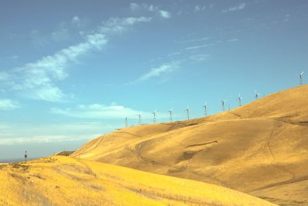 Altamont Pass Wind Farm is one of the earliest in the United States located in the Altamont Pass. The wind farm is composed of over 4900 relatively small wind turbines of various types photo