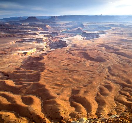 Canyonlands National Park is located in the American state of Utah, near city of Moab and preserves a colorful landscape eroded into countless canyons, mesas and buttes by the Colorado River and its tributaries. The rivers divide the park into four distri Stock Photo - 2983684
