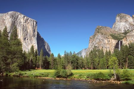 Yosemite Valley is a world-famous scenic location in the Sierra Nevada mountains of California. photo