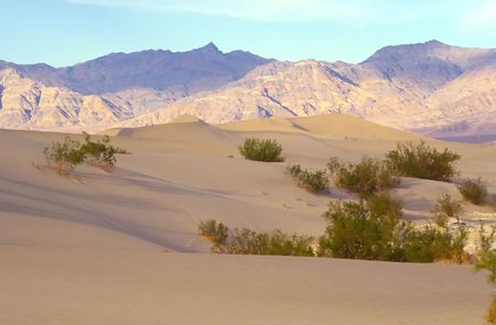 stovepipe: Stovepipe Wells Dunes, Tucki Mountain, and morning clouds, Death Valley National Park, California.