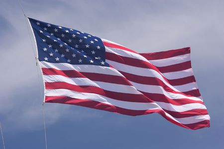 estrellas cinco puntas: La bandera de los Estados Unidos de Am�rica se compone de 13 la igualdad de franjas horizontales de color rojo con blanco alterna, con un rect�ngulo azul en el cant�n con 50 peque�as, de color blanco, de cinco estrellas.