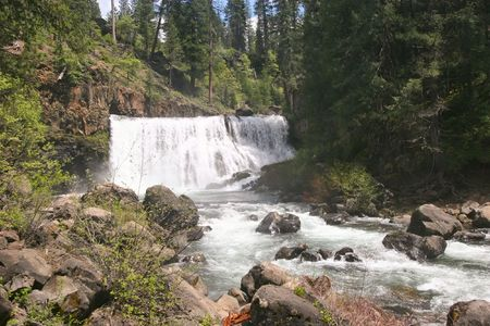 Brandy Creek Falls is a pretty little 24 ft. drop along Brandy Creek in the Whiskeytown National Recreation Area. Stock Photo