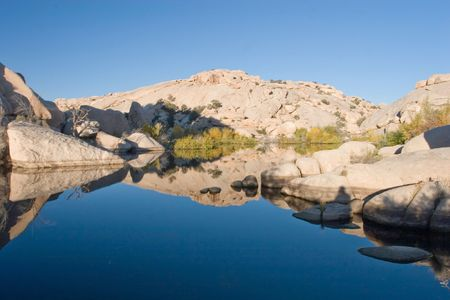 Barker Dam is a water-storage facility located in Joshua Tree National Park in California. The dam was constructed by early cattlemen, and is situated between Queen Valley and the Wonderland of Rocks near the Wall Street Mill. Stock Photo - 3119780