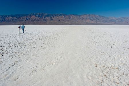 Badwater is a basin in Californias Death Valley, noted as the lowest point in North America, with an elevation of 282 feet (85.5 m) below sea level. photo