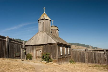 Fort Ross is a former Russian settlement in what is now Sonoma County, California Archivio Fotografico