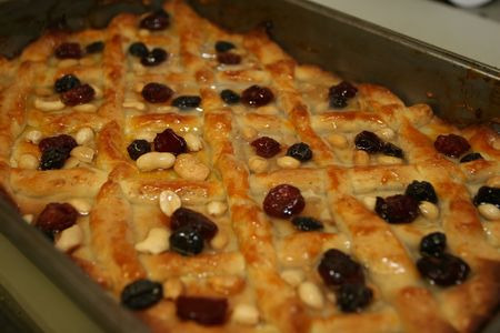 colorfully: Mazurek is a holiday cake which is prepared only for Easter. It is a flat cake, usually on a pastry or a wafer, covered with paste of nuts, almonds, cheese etc., colorfully decorated with jam, and raisins. On top of this, decorations are placed, such as e