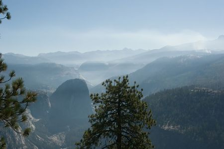 Glacier Point is a viewpoint above Yosemite Valley, in California photo