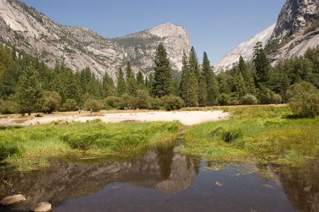 Mirror Lake is a lake in Yosemite National Park in California. This seasonal lake is close to disappearing due to sediment accumulation. photo