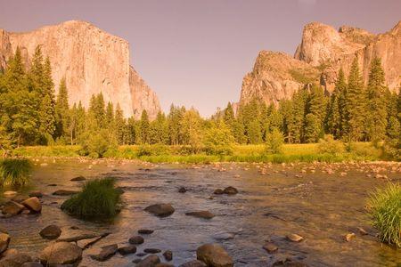 Merced River at Valley View - Yosemite National Park, California photo