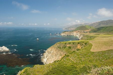 steinbeck: Pacific coastline in Big Sure near Bixby Bridge. Stock Photo