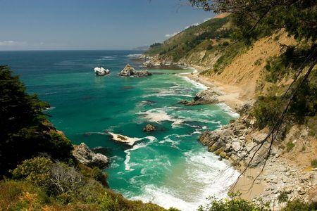 Pacific coastline in Big Sure near Bixby Bridge. Banco de Imagens