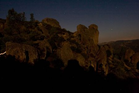 Pinnacles National Monument is a protected mountainous area located east of central Californias Salinas Valley. The Monuments namesakes are the eroded leftovers of half of an extinct volcano. Stock Photo