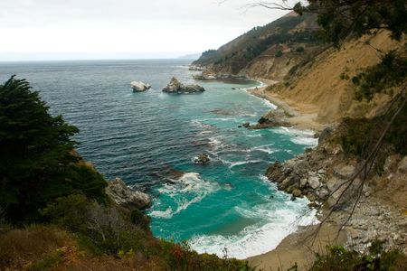 julia pfeiffer burns: Big Sur is a sparsely populated region of the central California, United States coast where the Santa Lucia Mountains rise abruptly from the Pacific Ocean.