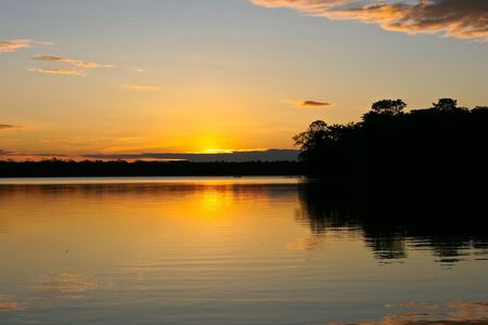 Lake Sandoval is located Tambopata-Candamo which is a nature reserve in the Peruvian Amazon Basin south of the Madre de Dios River Stock Photo - 3261714