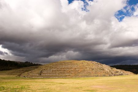 Sacsayhuam�n (also known as Saksaq Waman) is an Inca walled complex near the old city of Cusco, at an altitude of 3,701 m. Some believe the walls were a form of fortification, while others believe it was only used to form the head of the Puma that Sacsayh photo
