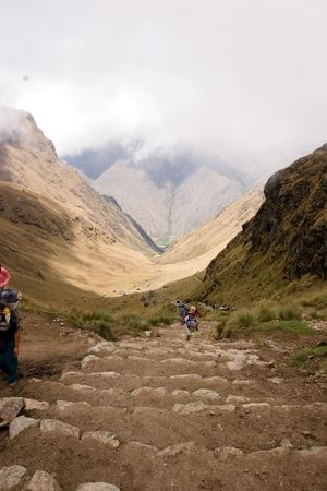 most popular of the Inca trails for trekking is the Capaq �an trail, which leads from the village of Ollantaytambo to Machu Picchu photo