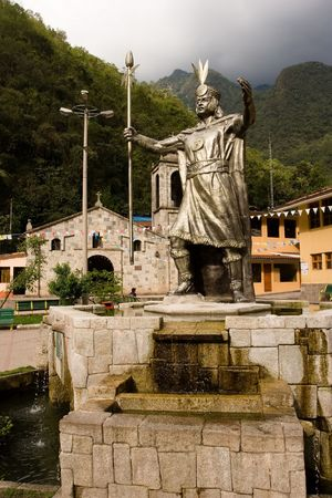 Aguas Calientes is the colloquial name for Machu Picchu pueblo, a town on the Urubamba River in Peru. Banco de Imagens - 3261610