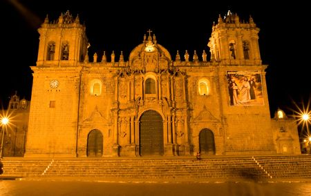 Main square in Cusco, a city in southeastern Peru, near the Urubamba Valley (Sacred Valley) of the Andes mountain range. photo