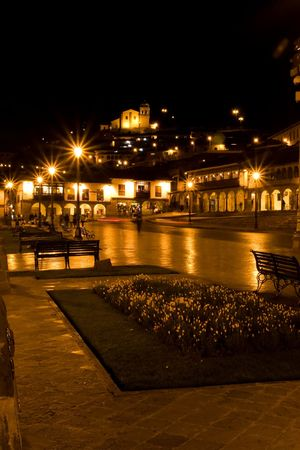 urubamba valley: Main square in Cusco, a city in southeastern Peru, near the Urubamba Valley (Sacred Valley) of the Andes mountain range. Stock Photo